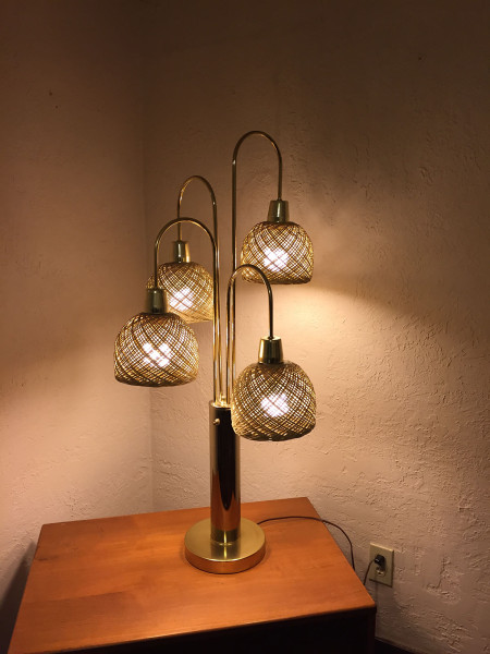 SOLD – Mid-Century Brass & Wicker Lamp