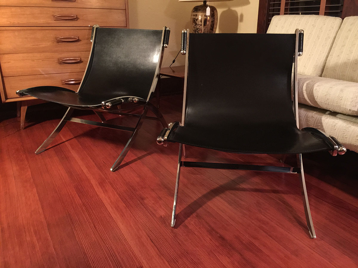Sold Leather Amp Chrome Paul Tuttle Style Sling Chairs