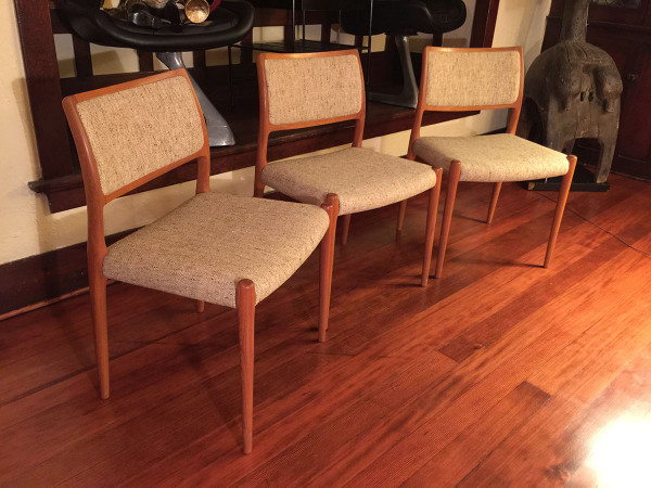 SOLD – Danish Modern Teak Moeller Dining Chairs, Set of 3