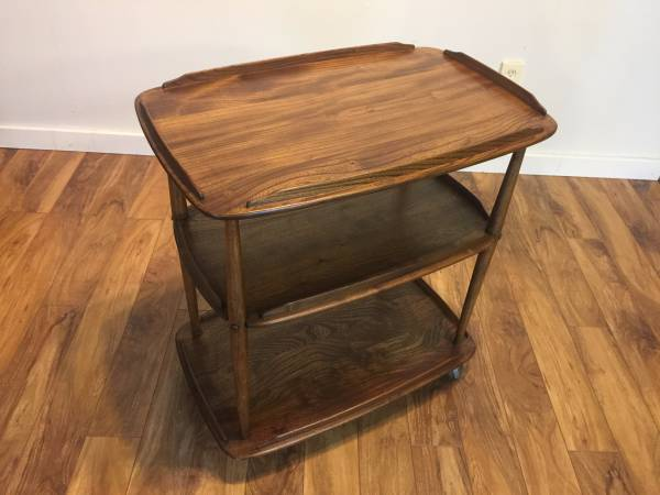 SOLD – MCM Solid Wood Tea Trolley/Bar Cart