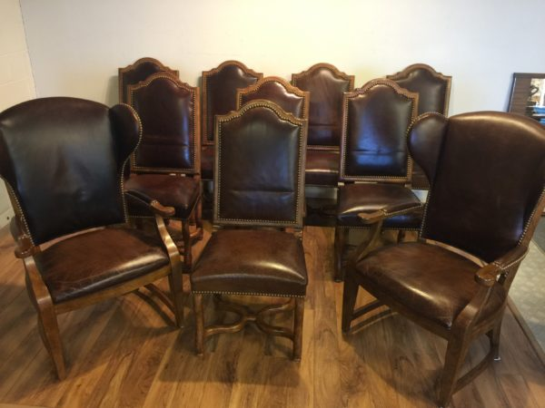 SOLD – Set of 10 Century Furniture Leather Dining Chairs