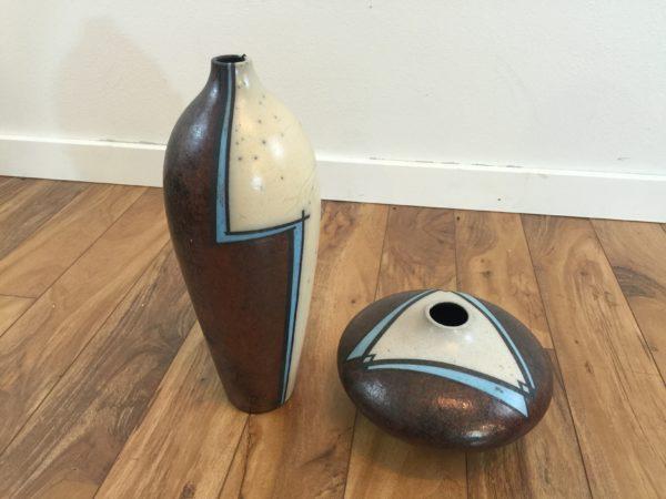 SOLD – Pair of Raku Pottery Vases