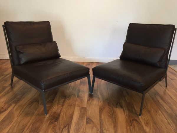 SOLD – Camerich Leather Arc Chairs – Pair