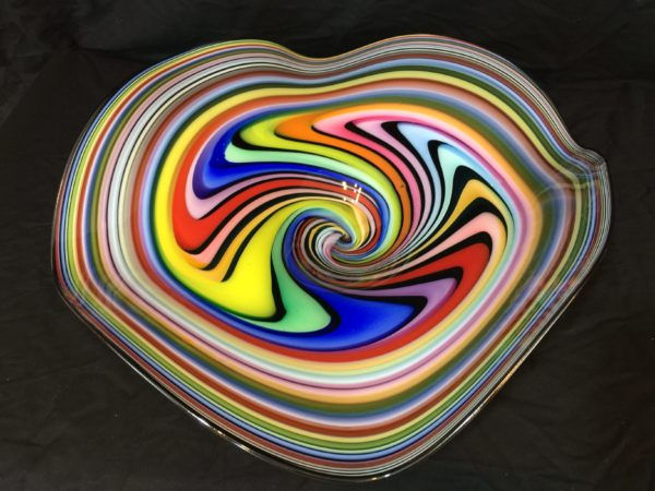 Art Glass Bowl, Multicolor, Table Top or Wall Art – $350