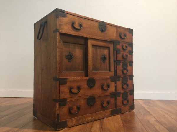 SOLD – Antique Tansu Chest with Iron Accents