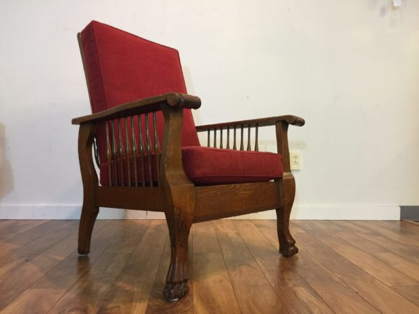 SOLD – Antique Tiger Oak Morris Chair, Newly Upholstered
