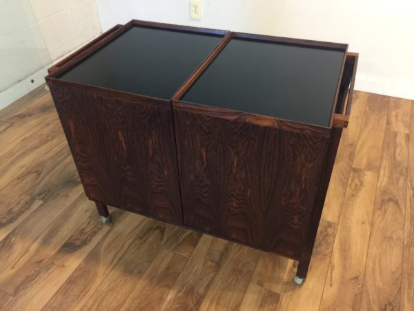 SOLD – Danish Mid Century Rosewood Bar Cart