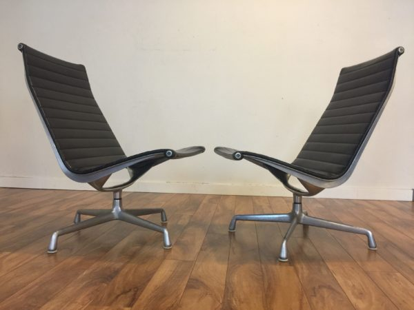SOLD – Pair Eames Aluminum Group Lounge Chairs