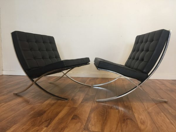 SOLD – Pair Knoll Barcelona Chairs 1960's