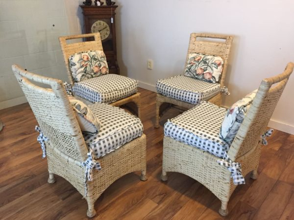 SOLD – McGuire Rattan Dining Chairs- Set of 4