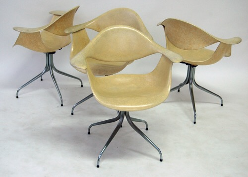 SOLD – Vintage George Nelson Herman Miller Swag Leg Chairs, Set of 4