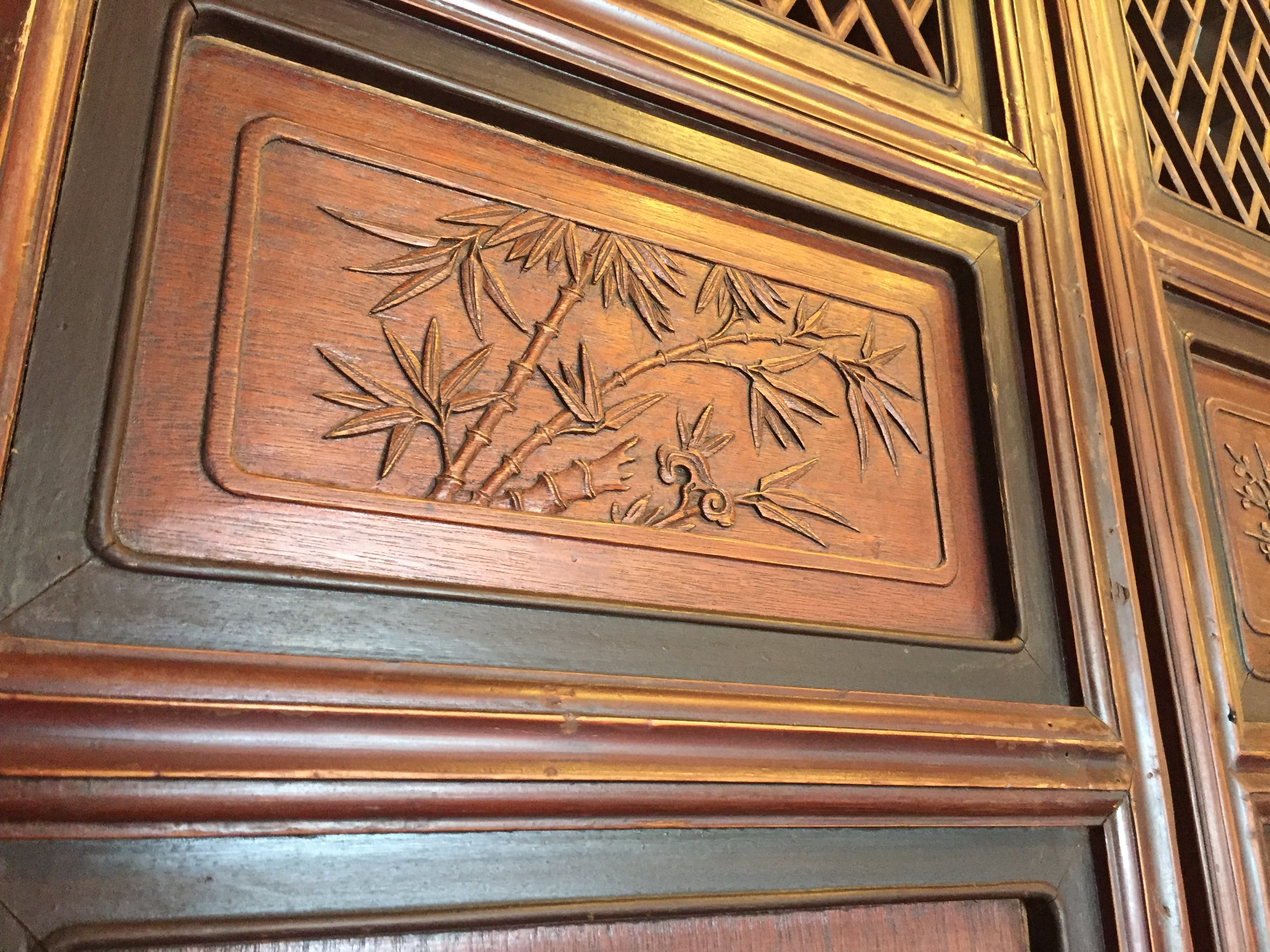 Antique chinese carved wood doors set of