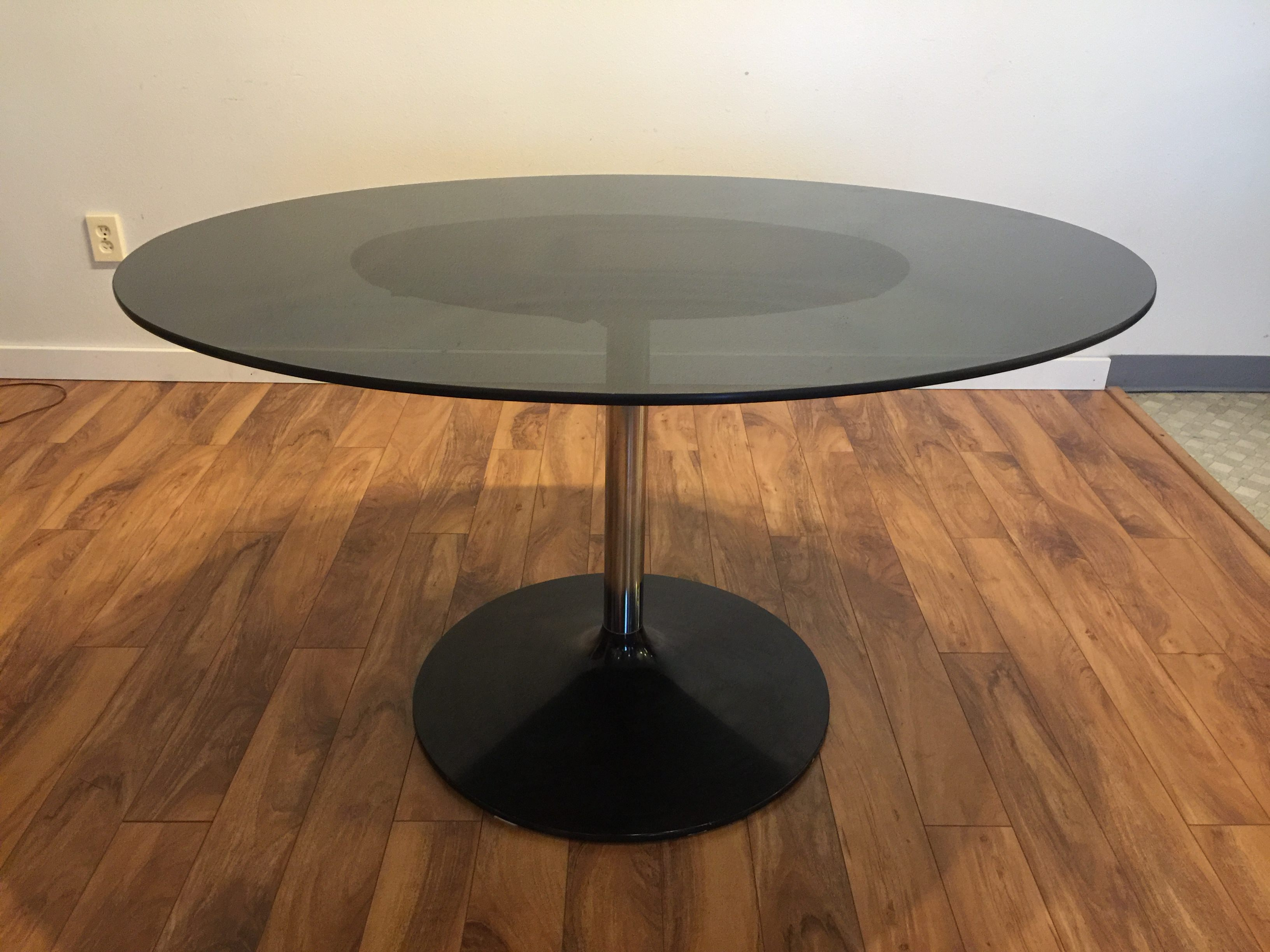Sold Vintage Smoked Glass Oval Dining Table Modern To