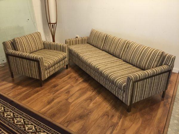 Vintage Sofa & Chair, Bronze Legs – $790