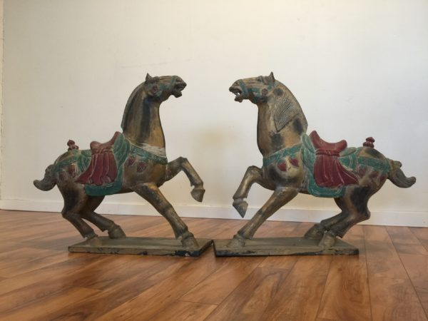 Pair of Polychrome Wooden Horse Statues – $750