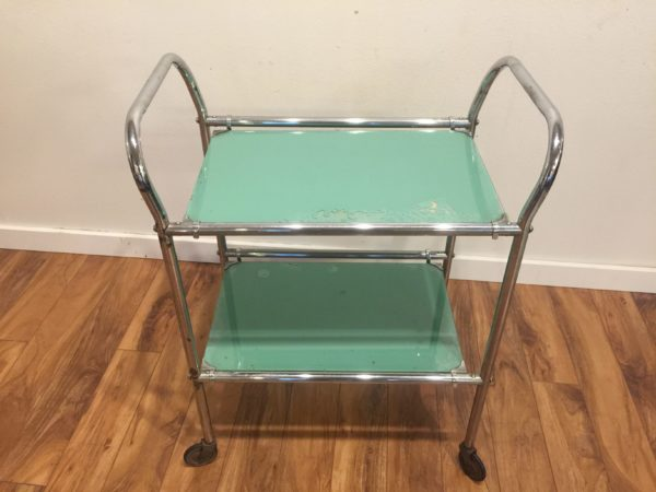 Vintage Dentist Cart, Chrome and Green Glass – $340