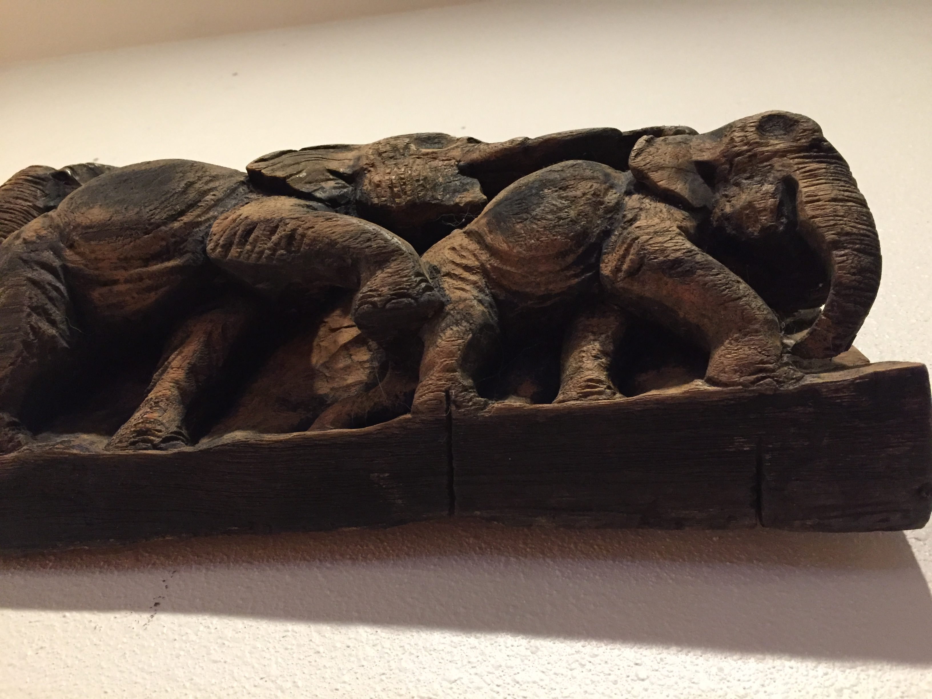 Sold elephant carved relief panel modern to vintage