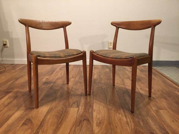 Hans Wegner Oak W2 Dining Chairs, Pair – $1195