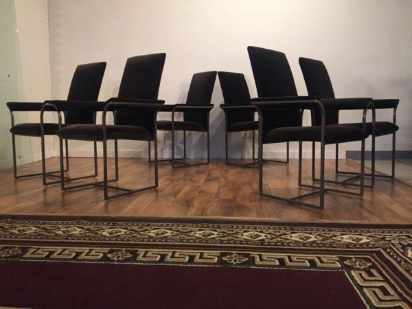 Milo Baughman Plush Dining Chairs, Set of 6 – $995