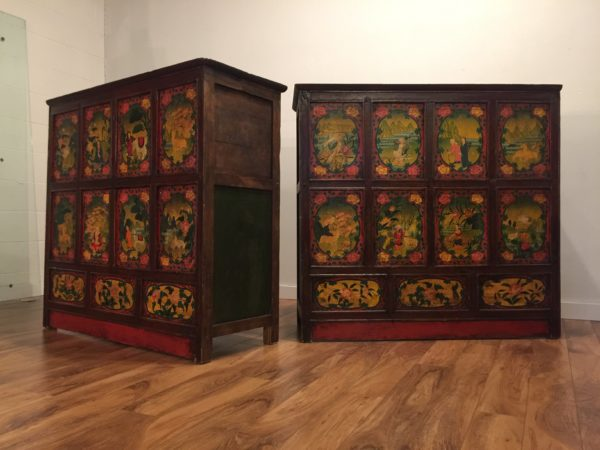 Tibetan Polychrome Painted Chests – $980 each