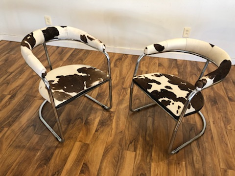 Pair of Vintage Cantilevered Chrome Chairs – $675