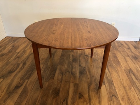 Sold Teak Round Expandable Dining Table Modern To Vintage
