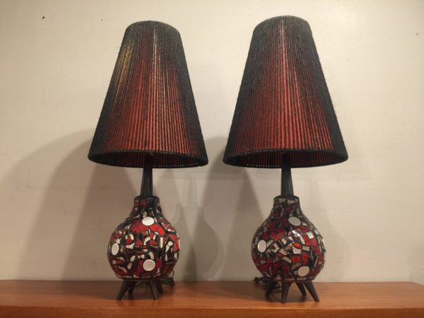 Pair of Maurice Chalvignac Mosaic Tile Lamps – $900