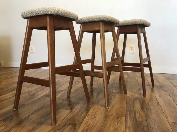 SOLD – Vamdrup Vintage Teak Bar Stools, Set of 3