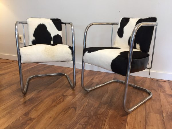 Pair of Vintage Chrome Cowhide Chairs – $995