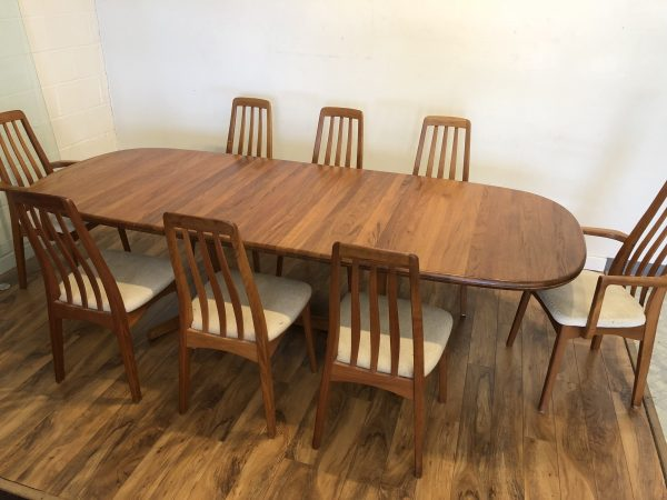 SOLD – Solid Teak Dining Table & 8 Chairs