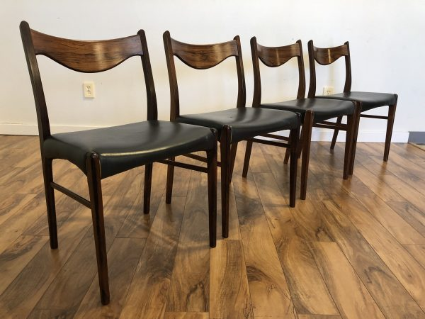 Arne Wahl Iversen Rosewood Dining Chairs – $1150