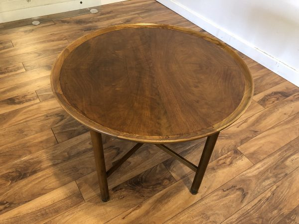 Vintage Round Burl Veneer Side Table – $175