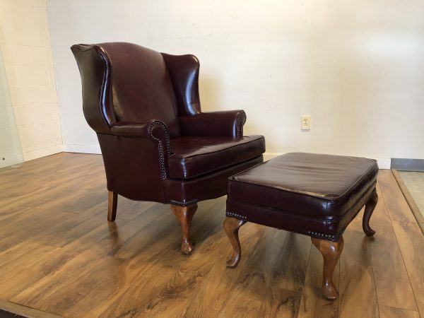 SOLD – Burgundy Leather Wingback Chair & Ottoman