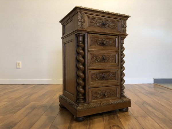 Antique English Oak Glass Top Cabinet – $1295