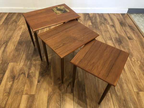 Danish Modern Teak Nesting Tables, Tile Top – $495