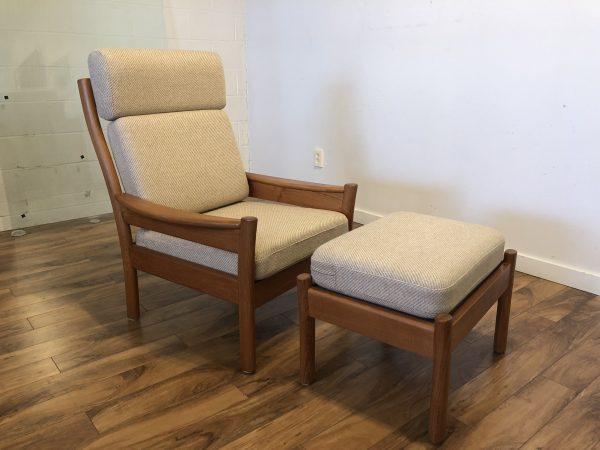SOLD – Dyrlund Danish Modern Teak Chair & Ottoman