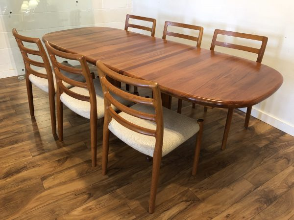 Danish Teak Dining Set, Table & 6 Chairs – $3595