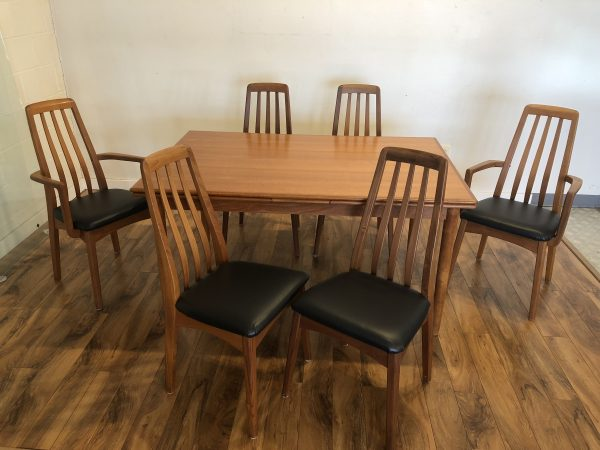 SOLD – Danish Modern Teak Dining Table & 6 Chairs