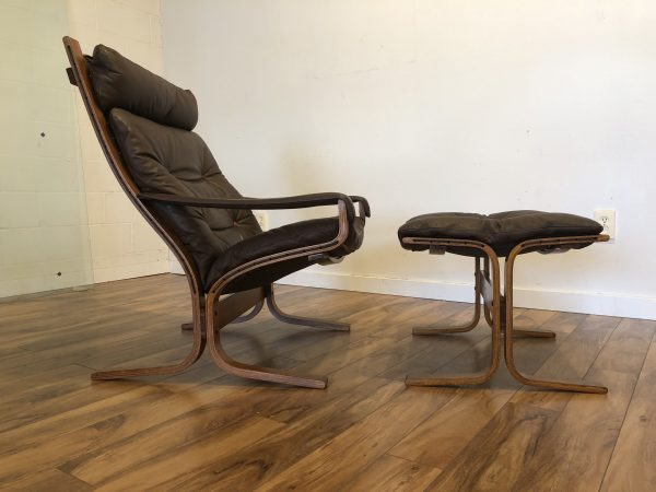 SOLD – Westnofa Vintage Leather Chair & Ottoman
