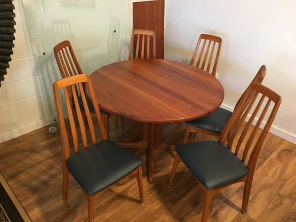 Teak Expandable Dining Table & 6 Chairs – $1795