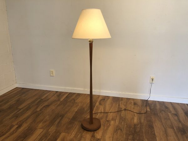 Mid Century Walnut Floor Lamp Curved Base – $895