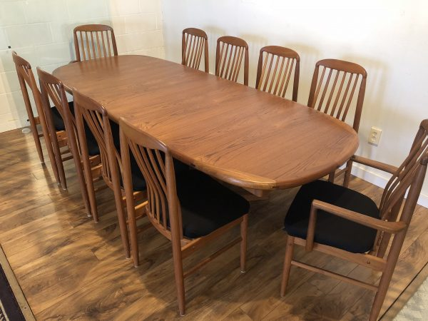 SOLD – Benny Linden Teak Dining Table & Ten Chairs