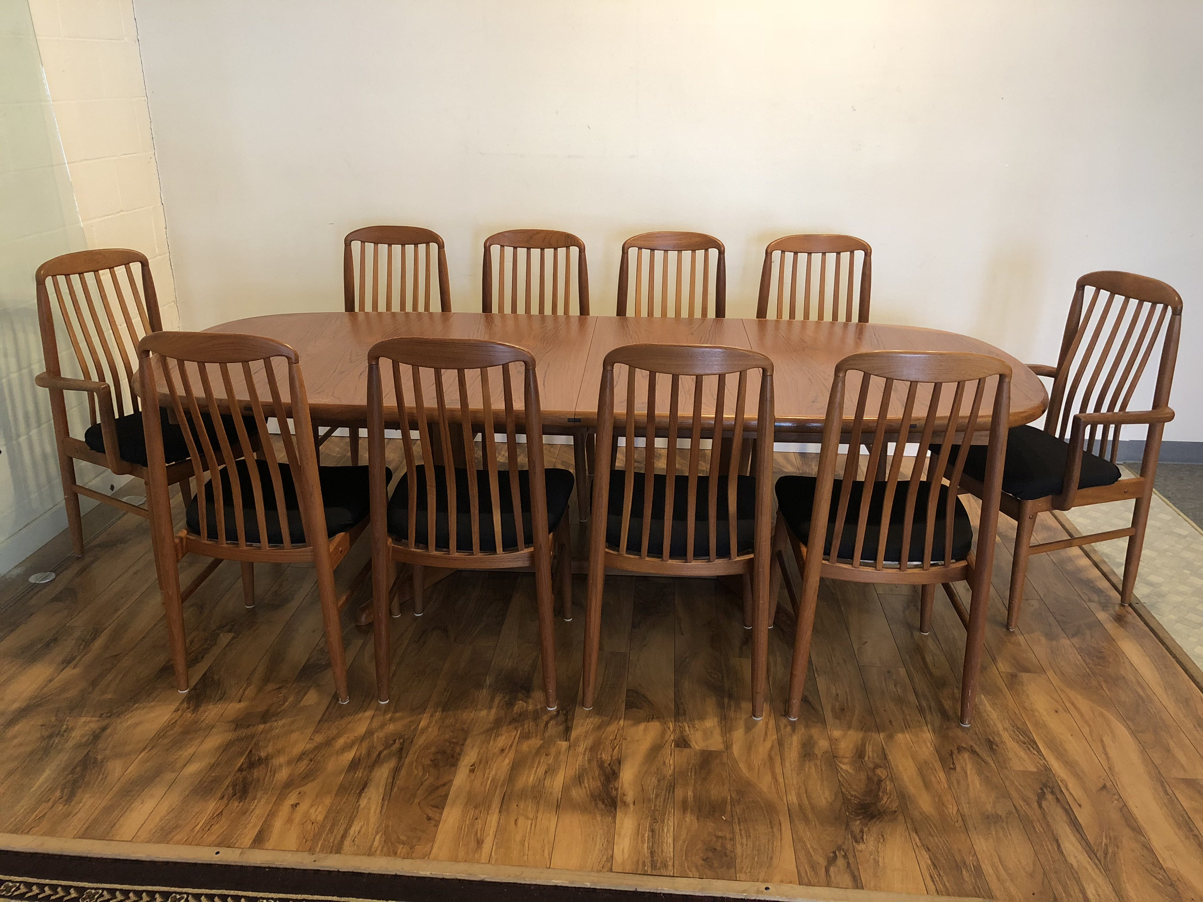 Sold Benny Linden Teak Dining Table Ten Chairs Modern To Vintage