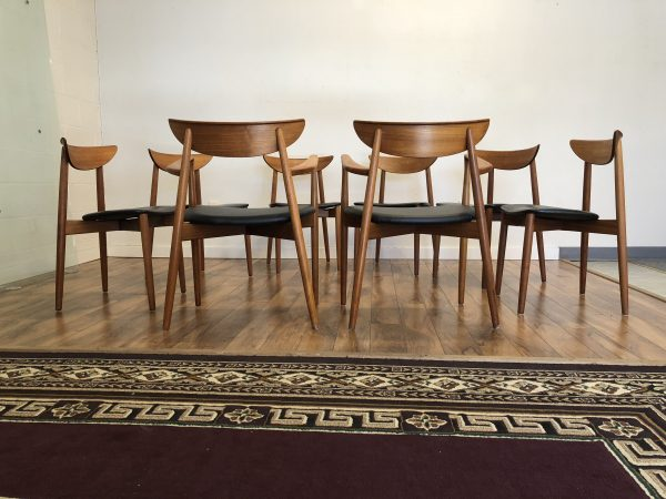 Harry Ostergaard Danish Teak Dining Chairs, Set of 8 – $4200