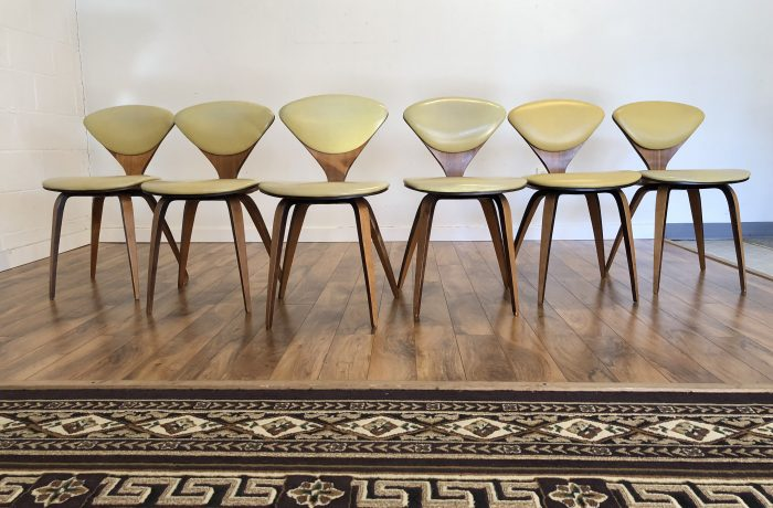 SOLD – Cherner Plycraft Upholstered Bent Wood Chairs