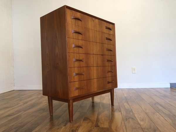 Teak Highboy Dresser with Bowtie Pulls – $750