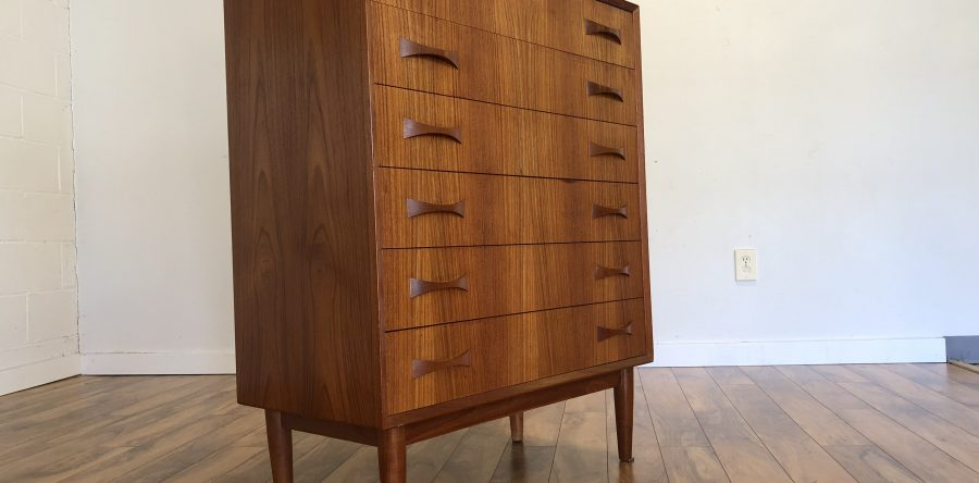 SOLD U2013 Teak Highboy Dresser With Bowtie Pulls