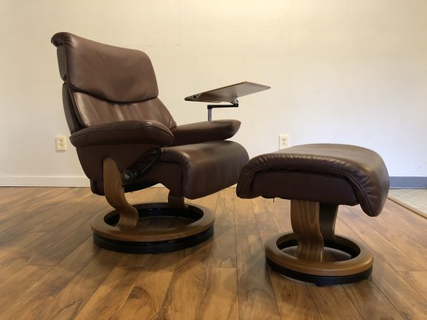 Ekornes Burgundy Recliner & Ottoman with Table – $1495
