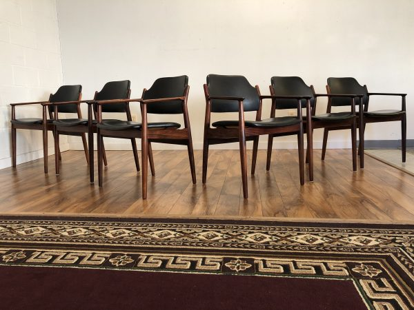 Arne Vodder Rosewood & Leather Dining Chairs – $4495