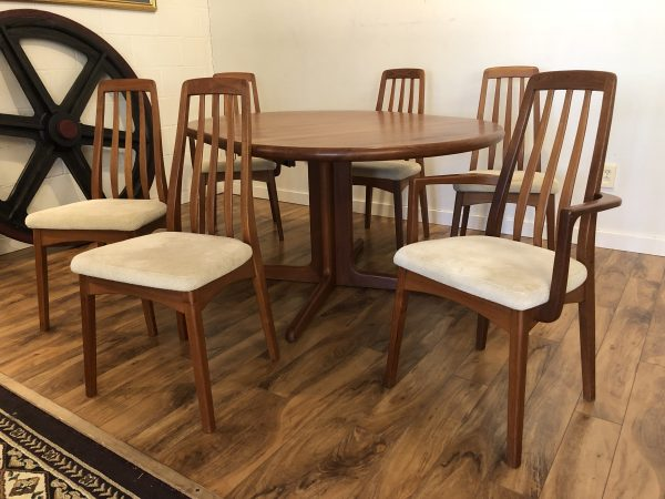 SOLD – Teak Expandable Dining Table with 6 Chairs